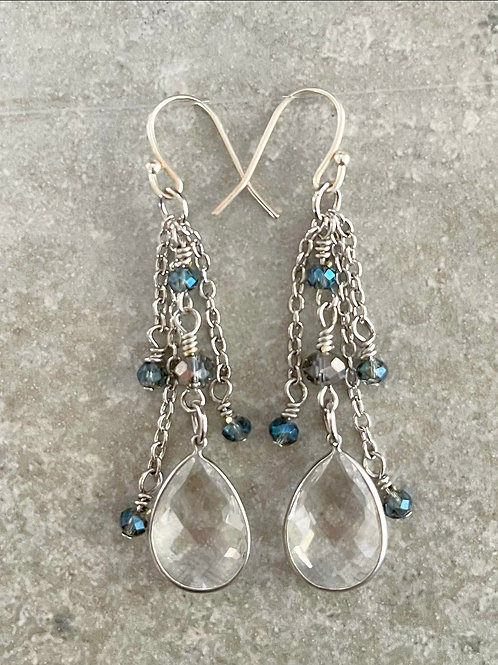 Shimmer Teardrop Dangle Chain Earrings