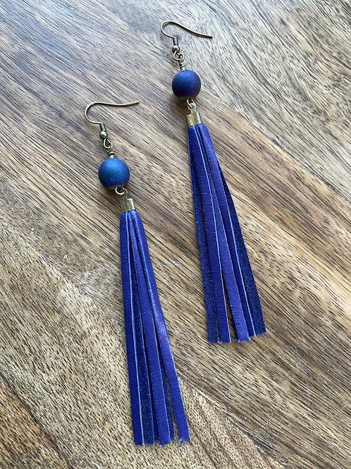 Druzy Minimalist Tassel Earrings
