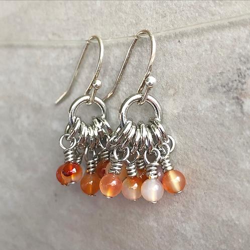 Red Agate Modern Cluster Earrings