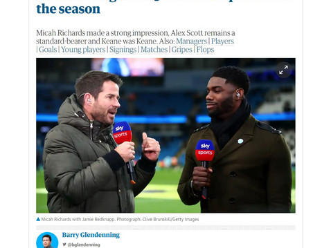 """Micah Richards features on The Guardian's """"Pundits of the Season"""""""