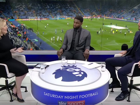 Micah and Jamie appear alongisde Kelly Cates for Leicester vs Manchester City