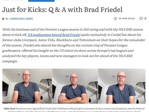 Brad Friedel joins CardsChat