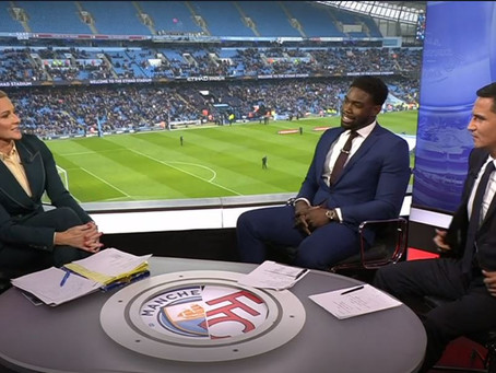 Micah Richards appears as a pundit for the BBC for Manchester City vs Fulham