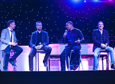 Paul Ince, Phil Thompson and Jason McAteer sit on a panel for M&B Promotions' After Dinner Event