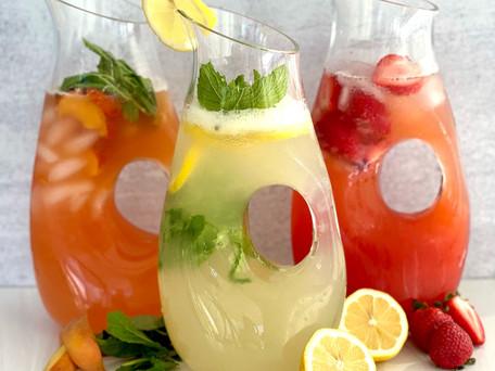 Homemade Lemonade 3 ways! Lemon, Strawberry and Peach Basil