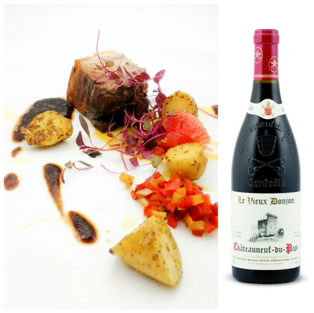The Hunt – Roasted Leg of Wild Boar with Peppers, Fingerling Potato and Pink Grapefruit.