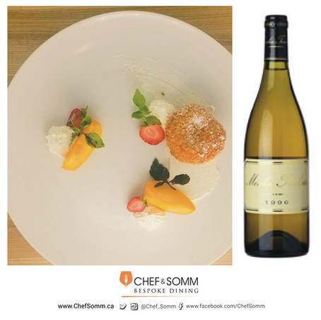 Deep Fried Peach, Strawberries & Sour Cream paired with Moulin Touchais Coteaux Du Layon 1996
