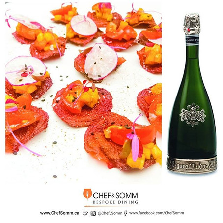Crispy Beet Chips  Tomatoes & Mango, and Radish paired with Segura Viudas Heredad, Reserva