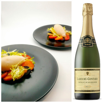 Roasted Heirloom Carrots with Cumin-Scented Pear Sorbet and Frisée, paired with Labouré-Gontard Brut