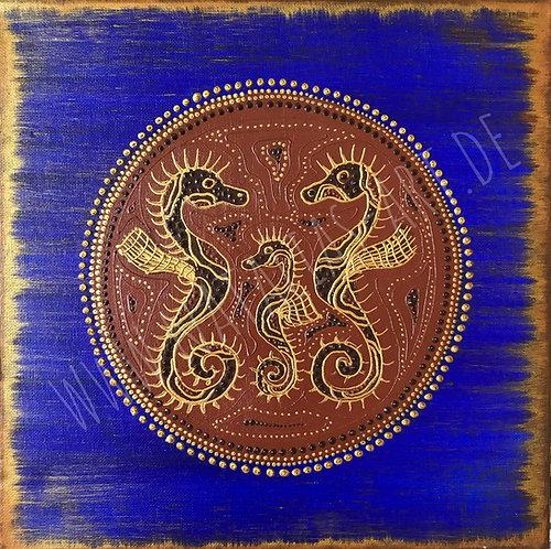 AfricanArt blue Seahorses -  letze Bilder aus der Reihe- Special Price!