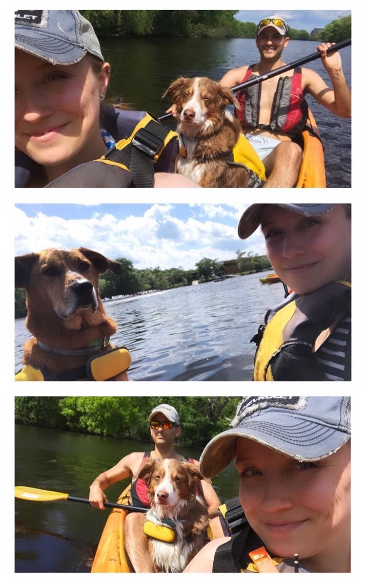 Amber, Nick, Tucker and Oakley kayaking.