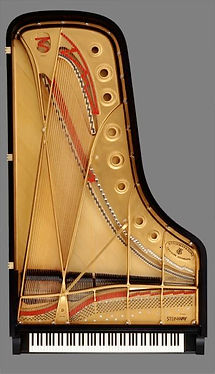 Top view of a Steinway D concert grand piano