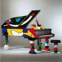 An ultra modern, multi-colored grand piano