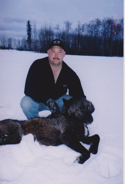 Quincy with Black Wolf