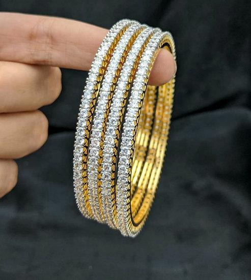 Indian Bollywood Golden With CZ Stone Beaded Bangle Bracelet Set.