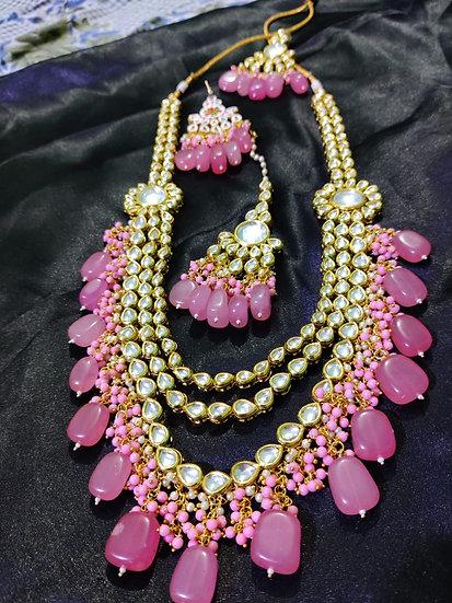Indian Pink Tumbler Kundan Long Necklace Earrings Maang Tikka Fashion Jewelry