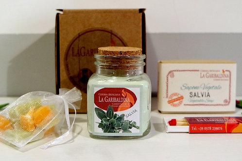 Gift Box Salvia - Candela di Soia+Sapone Vegetale