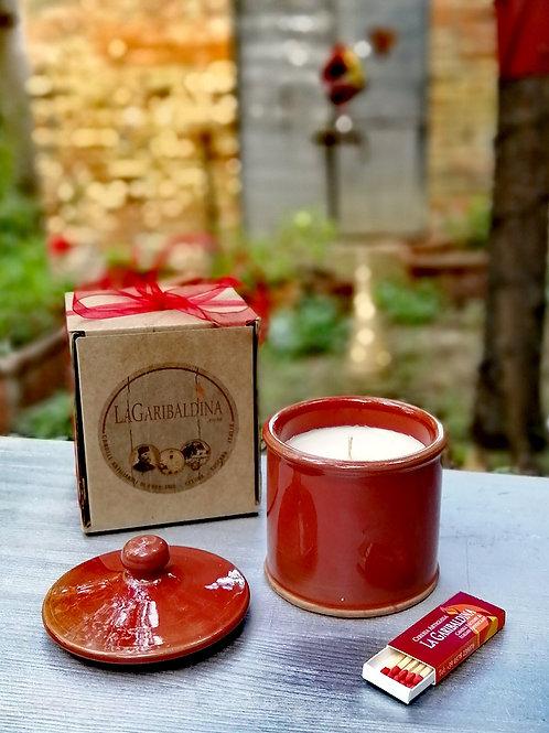Candela di Soia in Zuccheriera di Ceramica Rosso
