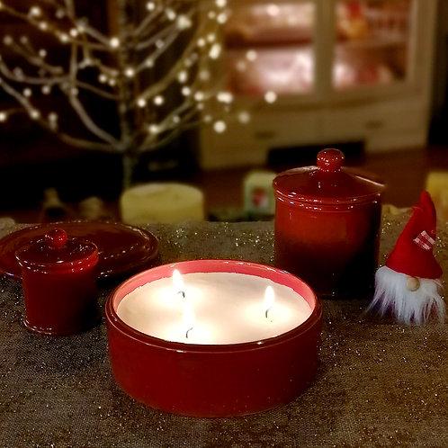 Candela di Soia 3 stoppini in Cofanetto di ceramica Rosso