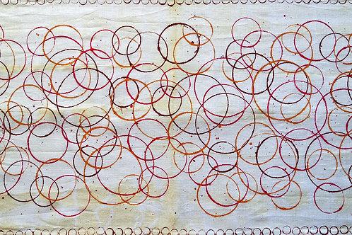 Runner di Lino tinto e dipinto a mano