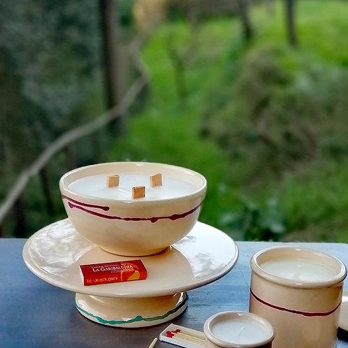 Candela di Soia in Ciotola di Ceramica