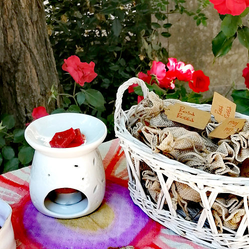 Set 4 - Sacchettini di scaglie di cera iperprofumata - Rosa rossa