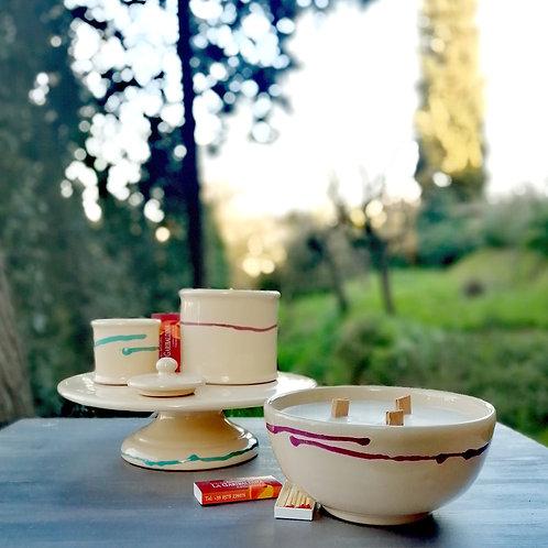 Candela di Soia in Zuccheriera di Ceramica