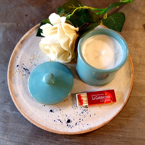 Candela di Soia in Zuccheriera di Ceramica Turchese
