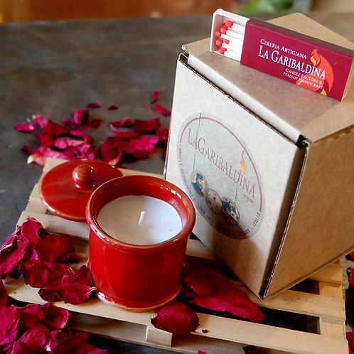 Candela di Soia in Porta spezie di Ceramica Rosso