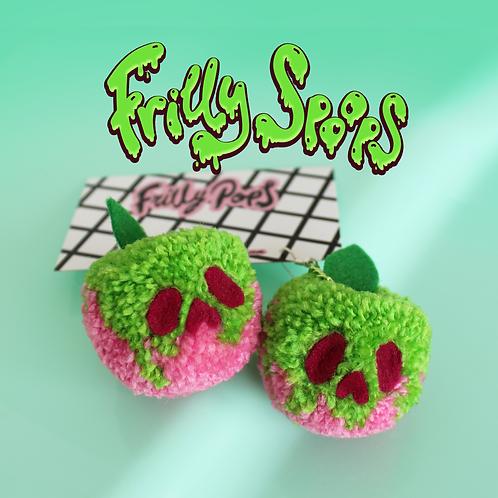 Frilly Spoops Poison Apple Pom Earrings