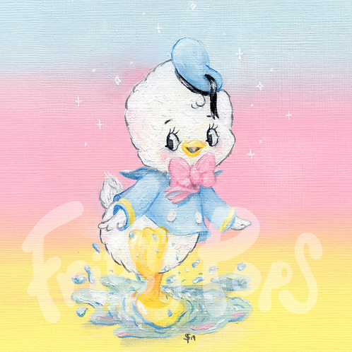 Donald Duck with oils Fine Giclée Print