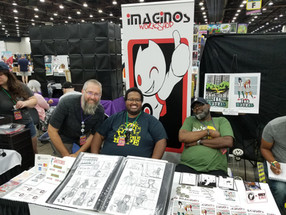 Jeff Working the Imaginos Booth with Mark and Joe