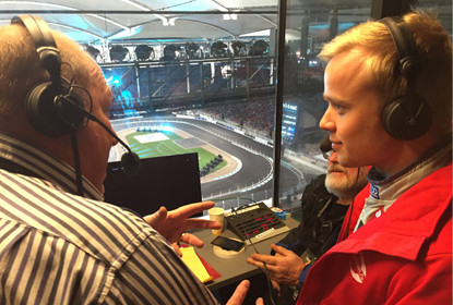 On air with then Formula 3 champion Felix Rosenqvist