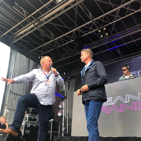 On stage with David Coulthard