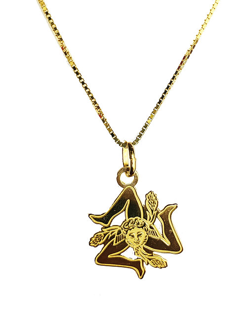 Collana - Ciondolo Trinacria in Argento incisa Colore Oro
