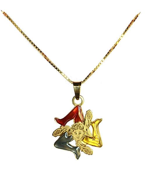 Collana - Ciondolo Trinacria in Argento Colore Oro e Smalto