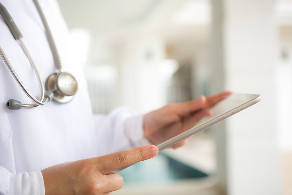 background image of doctor with tablet