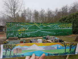 The design ready for colour. To aid the team, the sections were lined with the colour to be painted in