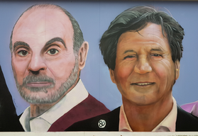 David Suchet by Andy Dice Davies and Melvyn Bragg by Curtis Hylton and Andy Dice Davies