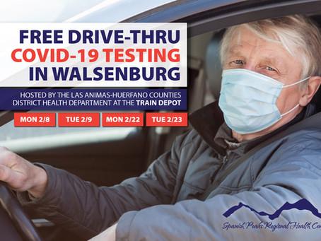 Free Drive-Thru COVID-19 Testing in Walsenburg