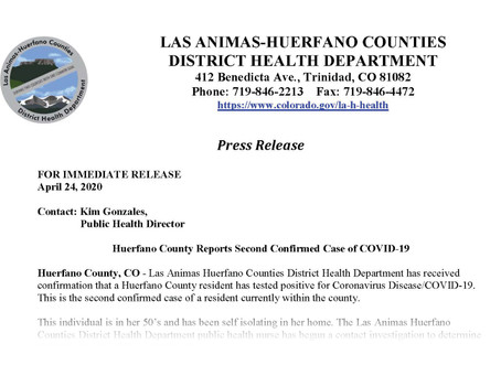 Second Case of COVID-19 in Huerfano County