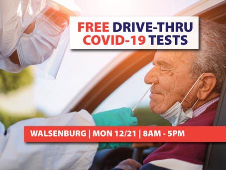 Free Drive-Thru COVID-19 Testing in Walsenburg Tomorrow