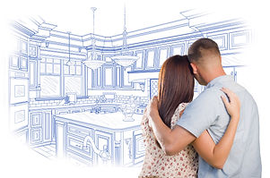 2 people planning a kitchen remodel