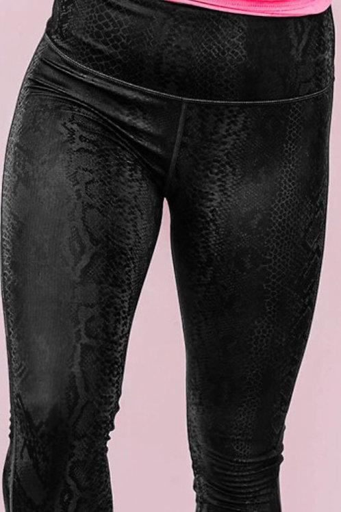 Black snakeskin leggings