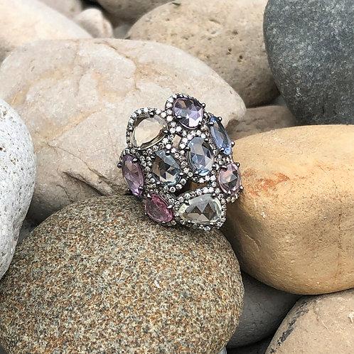 Multi-colored Sapphire/  Diamond Cluster Ring