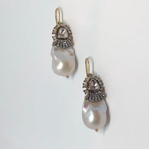 Diamond and Pearl Baroque Earrings