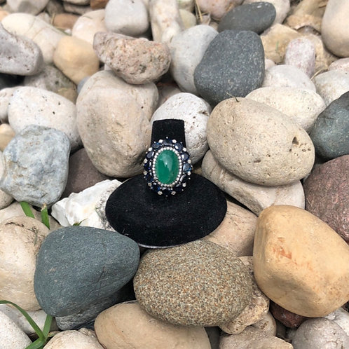 Emerald Ring with Sapphires and Diamonds