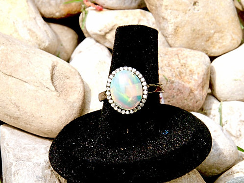 Victorian Style Opal and Diamond Ring