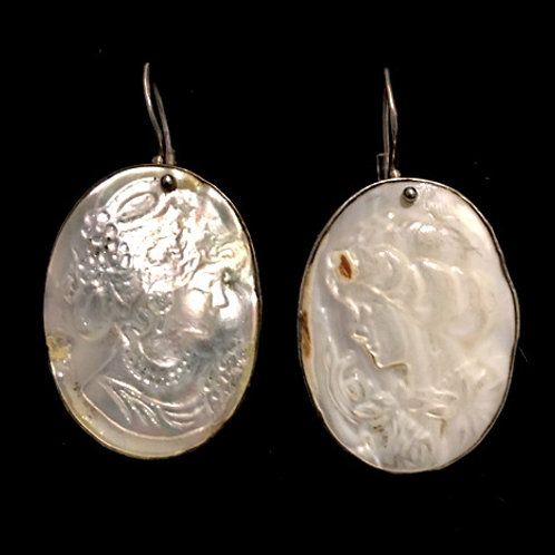 Carved Cameo Earrings