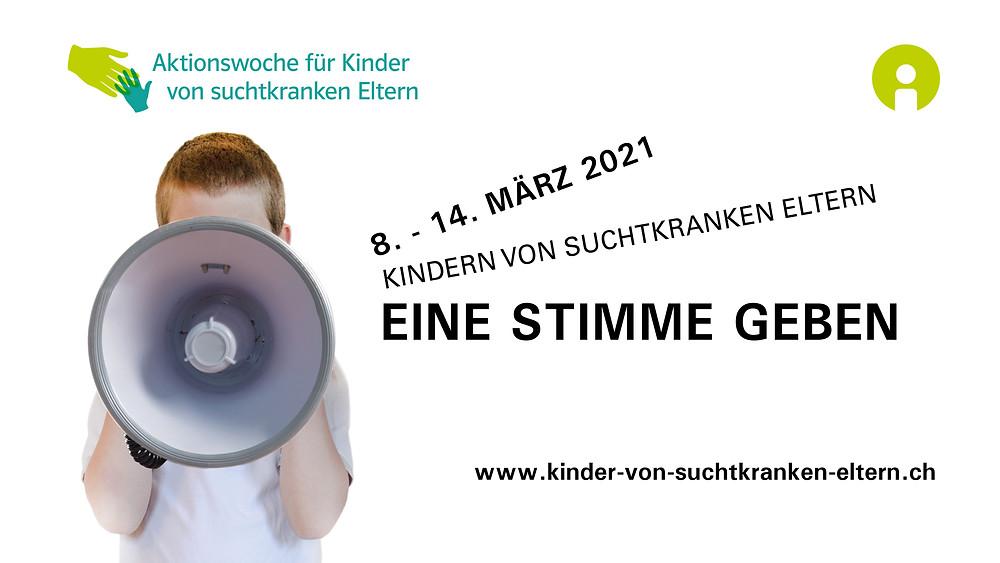Banner «Aktionswoche für Kinder von suchtkranken Eltern»